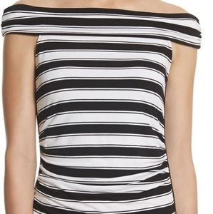 WHBM Black & White Striped Off the Shoulde…